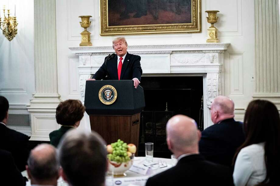 """President Trump delivers remarks at the """"White House Business Session with our Nation's Governors"""" in the State Dining Room at the White House on Feb 10. Photo: Washington Post Story By Jabin Botsford / The Washington Post"""