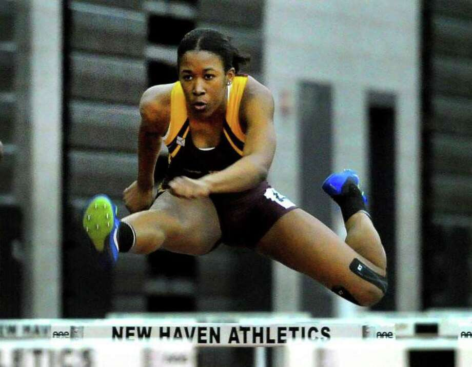 St. Joseph senior Kayla Clark won the 55-meter hurdles. Photo: Christian Abraham / Hearst Connecticut Media / Trumbull Times