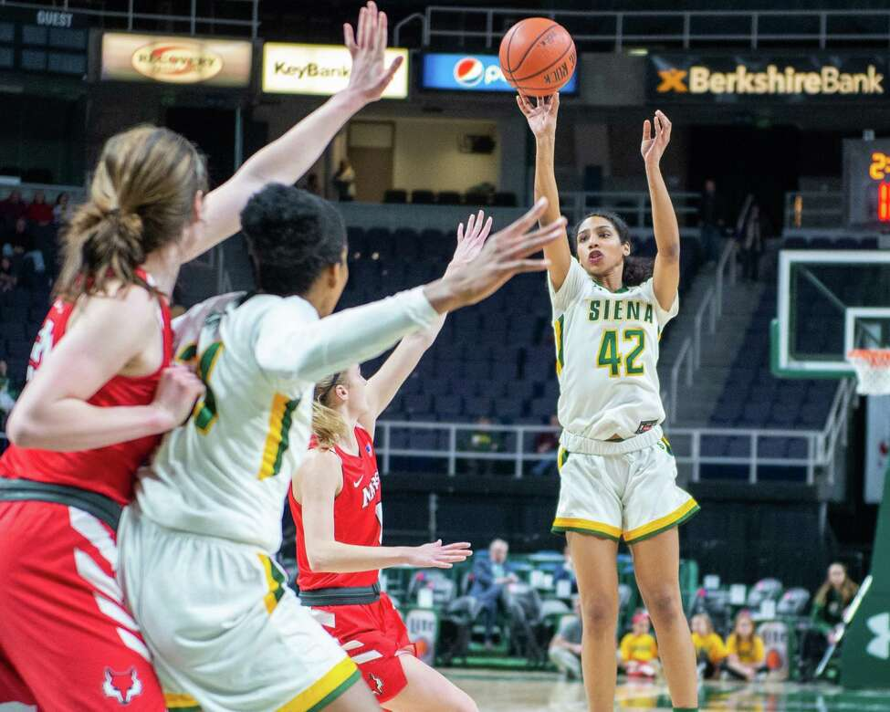 Siena College senior Sabrina Piper takes a jumper against Marist College in a Metro Atlantic Athletic Conference game at the Times Union Center in Albany, NY on Sunday, Feb. 16, 2020 (Jim Franco/Special to the Times Union.)