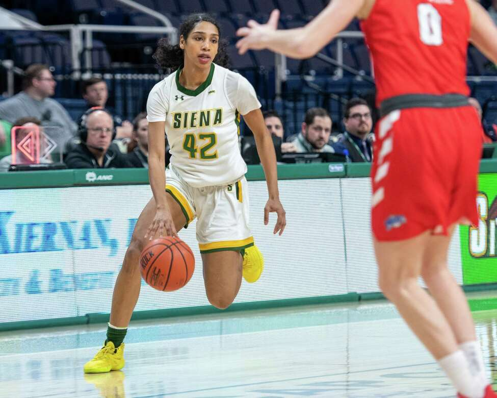 Siena College senior Sabrina Piper drives to the basket against Marist during a Metro Atlantic Athletic Conference game at the Times Union Center in Albany, NY on Sunday, Feb. 16, 2020 (Jim Franco/Special to the Times Union.)