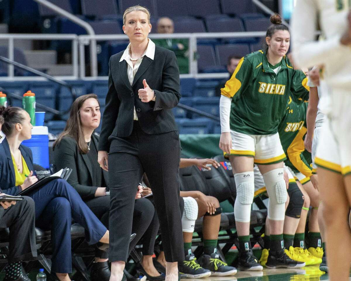 Siena College head women's' basketball coach Ali Jaques during a during a Metro Atlantic Athletic Conference game against Marist at the Times Union Center in Albany, NY on Sunday, Feb. 16, 2020 (Jim Franco/Special to the Times Union.)