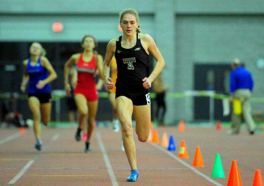 Emily Alexandru from Trumbull dominated the 600-meter run at the Class LL meet. Photo: Christian Abraham / Hearst Connecticut Media / Trumbull Times