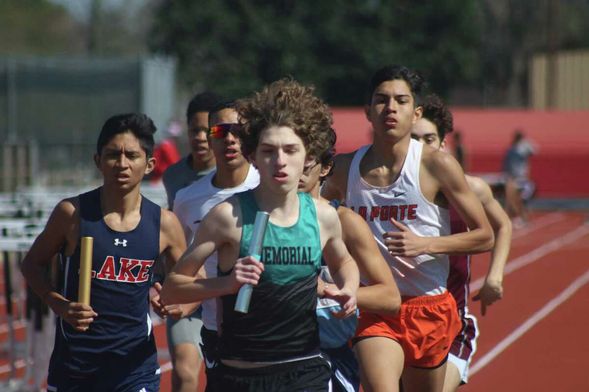 A Clear Lake runner finds himself in a tight pack during the distance medley relay Friday afternoon.