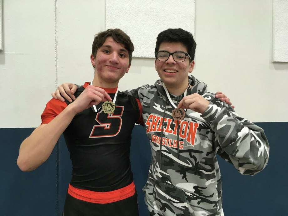 Adam Rossetti placed first and Justin Ayora was third at the SCC Jayvee Wrestling Tournament. Photo: Contributed Photo / Shelton High Athletics / Shelton Herald