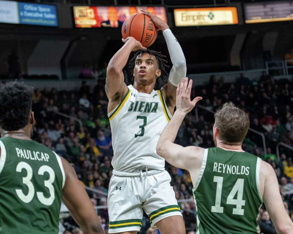 Siena College junior Manny Camper takes a jumper during a Metro Atlantic Athletic Conference game against Manhattan at the Times Union Center in Albany, NY on Sunday, Feb. 16, 2020 (Jim Franco/Special to the Times Union.)
