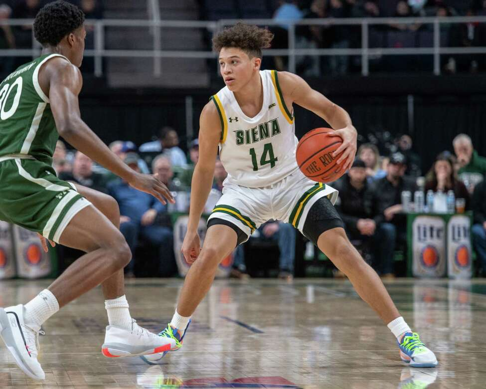 Siena College freshman Jordan King, shown earlier this season, had several big 3-pointers against Quinnipiac on Wednesday. (Jim Franco/Special to the Times Union.)