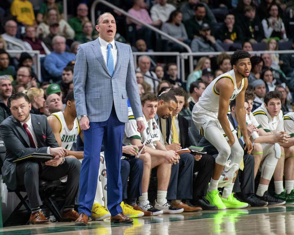 Siena College head basketball coach Carmen Maciariello during a Metro Atlantic Athletic Conference game against Manhattan at the Times Union Center in Albany, NY on Sunday, Feb. 16, 2020 (Jim Franco/Special to the Times Union.)