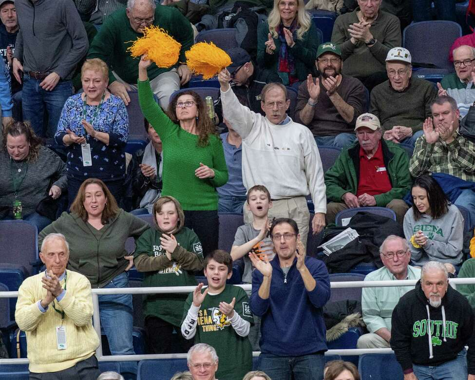 Siena basketball fans sold out the Times Union Center for Sunday's game against Manhattan, prompting the arena to turn away would-be ticket buyers who complained afterward that the team should open more parts of the arena for searing. (Jim Franco/Special to the Times Union.)