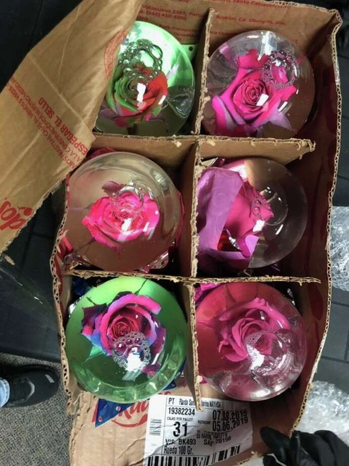 The Harris County Pct. 5 Constable's Office uncovered globes filled with liquid meth as part of an ongoing investigation with the Drug Enforcement Administration, the office announced Saturday on Facebook. Photo: Harris County Pct. 5 Constable's Office