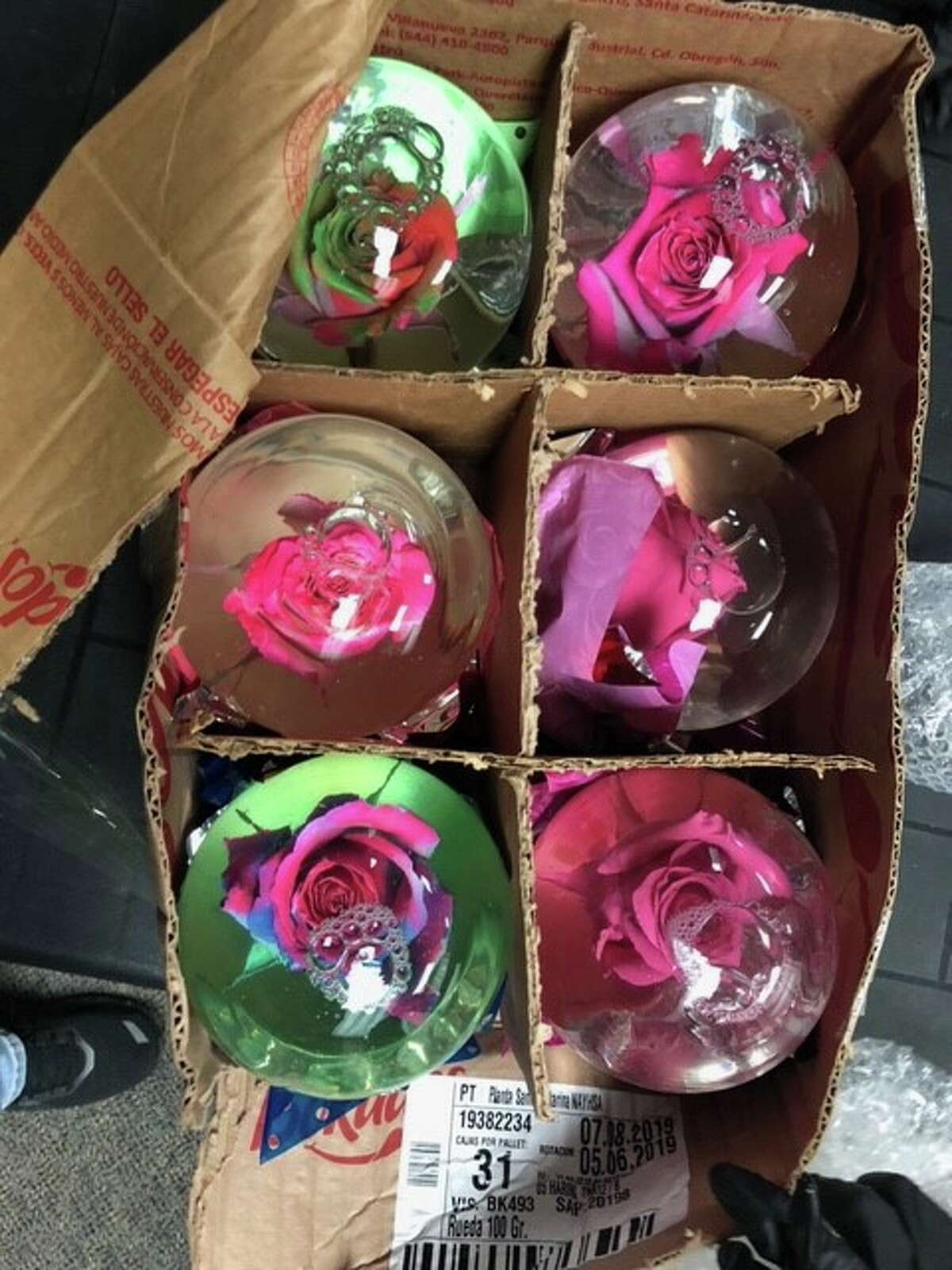 The Harris County Pct. 5 Constable's Office uncovered globes filled with liquid meth as part of an ongoing investigation with the Drug Enforcement Administration, the office announced Saturday on Facebook.