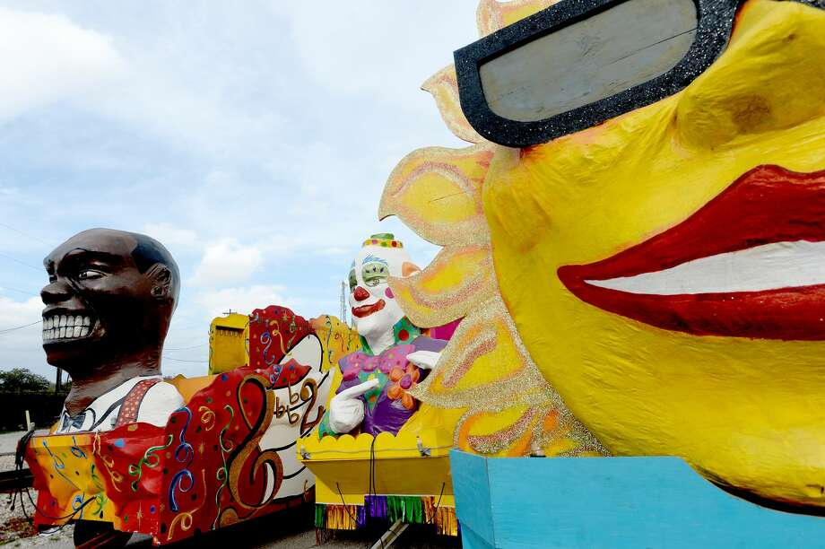 The Mardi Gras floats sit in a lot at the Port of Beaumont after being driven up from Port Arthur Sunday in preparation for the Majestic Krewe Aurora Mardi Gras 2020, this year for the first time in Beaumont. The festival and parades begin Thursday and runs through Sunday. Photo taken Sunday, February 16, 2020 Kim Brent/The Enterprise Photo: Kim Brent/The Enterprise