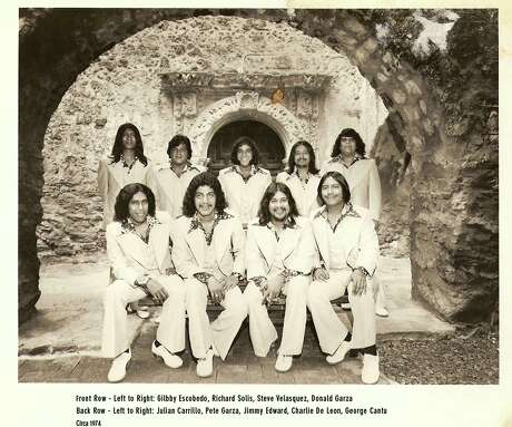 The Latin Breed, '70s edition: Front row, from left, Gilbby Escobedo, Richard Solis, Steve Velasquez, Donald Garza. Back row, from left, Julian Carrillo, Pete Garza, Jimmy Edward, Charlie De Leon, George Cantu. Edward died Sunday at the age of 68.