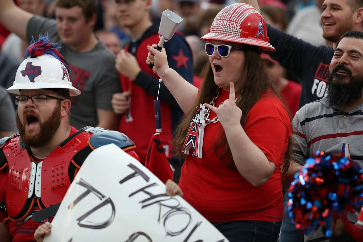 Houston Roughnecks fans cheer during the second quarter of an XFL football game at TDECU Stadium on Sunday, Feb. 16, 2020, in Houston.