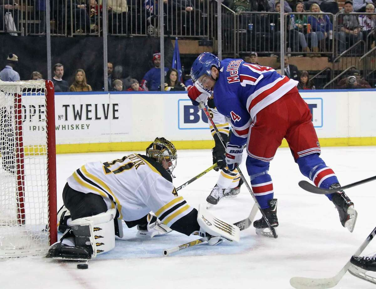 NEW YORK, NEW YORK - FEBRUARY 16: Jaroslav Halak #41 of the Boston Bruins makes the second period save on Greg McKegg #14 of the New York Rangers at Madison Square Garden on February 16, 2020 in New York City. (Photo by Bruce Bennett/Getty Images)