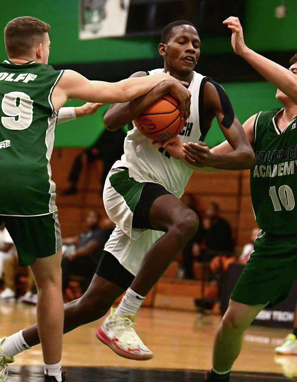 Green Tech's Justin Owens drives to the hoop against Logan Academy during a basketball game on Monday, Dec. 16, 2019 in Albany, N.Y. (Lori Van Buren/Times Union)
