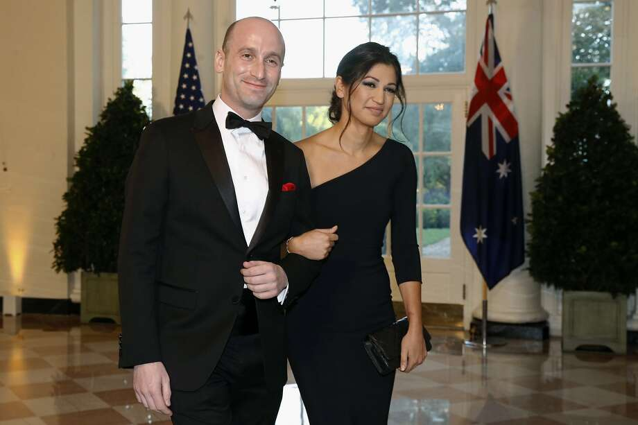 FILE - In this Sept. 20, 2019, file photo, President Donald Trump's White House Senior Adviser Stephen Miller, left, and Katie Waldman arrive for a state dinner with Australian Prime Minister Scott Morrison and Trump at the White House in Washington. Trump went from the Daytona 500 on Sunday, Feb. 16, 2020, to attending the wedding of the two top members of his administration, Miller and Waldman, press secretary for Vice President Mike Pence. (AP Photo/Patrick Semansky, File) Photo: Patrick Semansky, Associated Press
