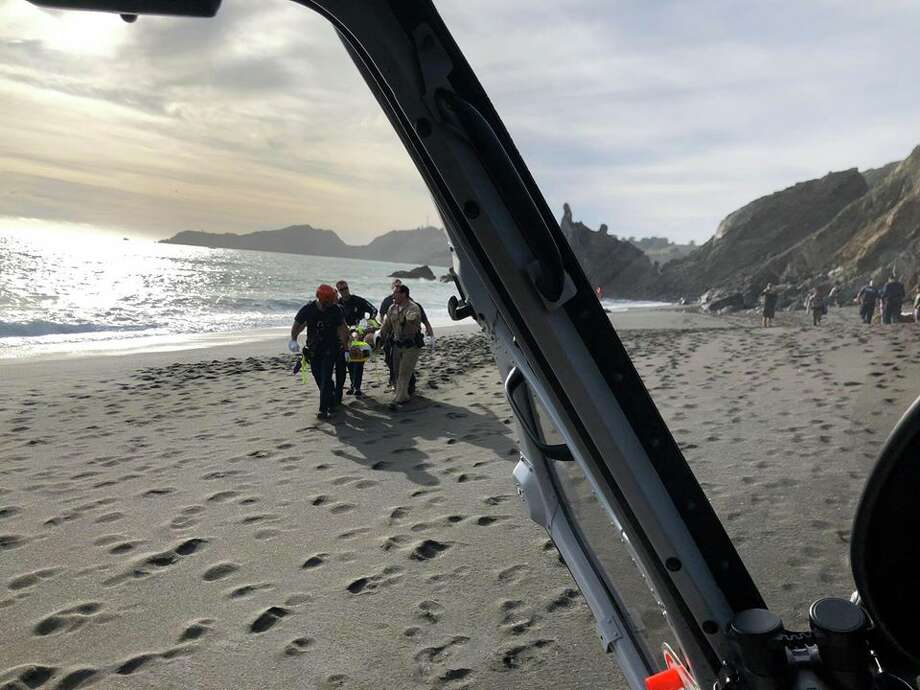 Bringing the fallen man back up the trail would have been problematic, and the California Highway Patrol was called to send a helicopter to the beach. Photo: California Highway Patrol