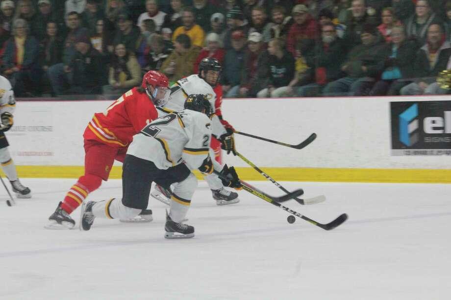 Ferris State's Marshall Moise skates down the ice against Michigan Tech on Saturday night. (Pioneer photo/John Raffel)