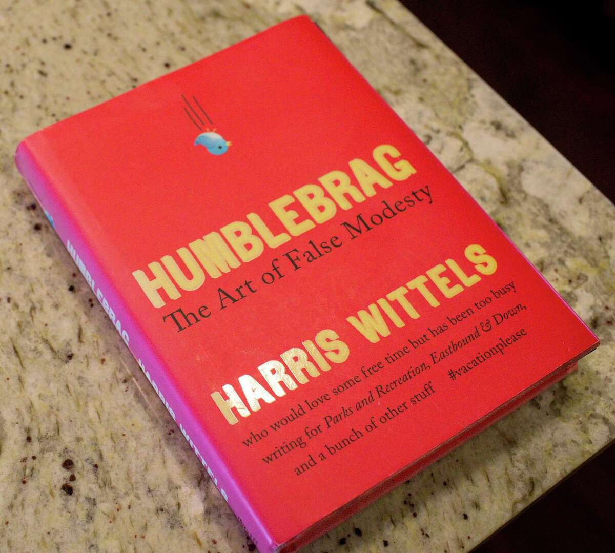 """A copy of """"Humblebrag,"""" a book written by Harris Wittels, photographed Wednesday, Feb. 12, 2020, at his mother's home in Houston. Wittels died of a heroin overdose about five years ago. His mother Maureen has since started a Houston chapter of G.R.A.S.P., or Grief Recovery After a Substance Passing. """"Our meetings are so helpful, because you can get it all out,"""" she said. """"That's what we need, we need to get it out."""""""