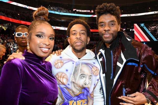 CHICAGO, ILLINOIS - FEBRUARY 16: (L-R) Jennifer Hudson, Ludacris, and Chadwick Boseman attend the 69th NBA All-Star Game at United Center on February 16, 2020 in Chicago, Illinois. (Photo by Kevin Mazur/Getty Images)