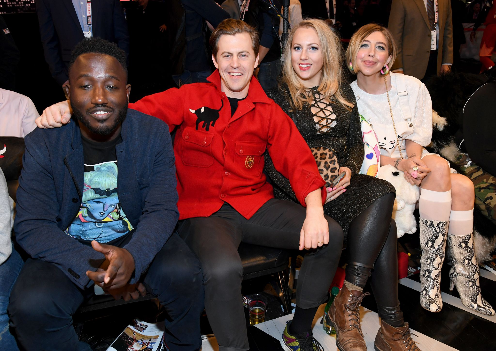 Celebrities sitting courtside at the NBA All-Star Game
