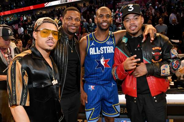 CHICAGO, ILLINOIS - FEBRUARY 16: (L-R) Taylor Bennett, Chris Tucker, Chris Paul, and Chance the Rapper attend the 69th NBA All-Star Game at United Center on February 16, 2020 in Chicago, Illinois. (Photo by Kevin Mazur/Getty Images)