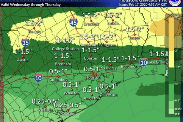 Parts of the Houston area can expect up to 2 inches of rain during the week of Feb. 17, 2020.