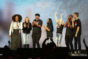 """DALLAS, TX - FEBRUARY 15: Oprah Winfrey speaks with the cast of Netflix's """"Cheer"""", (L-R) Monica Aldama, Jerry Harris, Gabi Butler, Lexi Brumback, TT Barker and Dillon Brandt during Oprah's 2020 Vision: Your Life in Focus Tour presented by WW (Weight Watchers Reimagined) at American Airlines Center on February 15, 2020 in Dallas, Texas."""