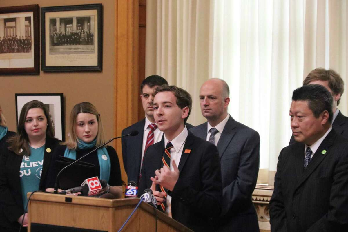 State Sen. Will Haskell (D-26) discusses proposed legislation that would provide additional protections against sexual assault on campus. The bill, announced Feb. 13, has bipartisan support as well as the support of the Every Voice Coalition and the Connecticut Coalition to End Sexual Violence.