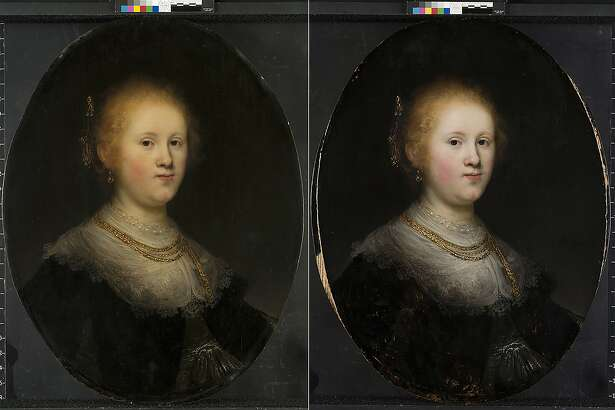 """This photo combo provided by Allentown Art Museum shows from left, before and after restoration of a painting called """"Portrait of a Young Woman."""" Thanks to modern technology and some expert detective work, the 1632 painting that had long been attributed to an unknown artist in Rembrandt's workshop has been judged to have been a work of the Dutch master himself. (Allentown Art Museum via AP)"""