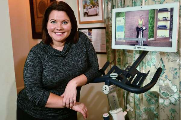 Norwalk resident Sara Pennella is one of the first users of the exercise bikes made by Greenwich-based Myx Fitness.