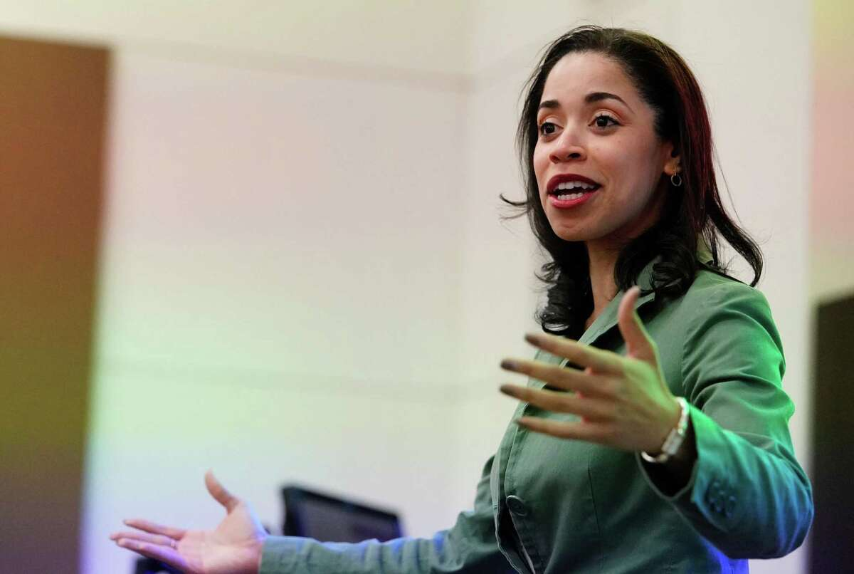 Amanda Edwards, a Democratic candidate for U.S. Senate, speaks to a class during a visit at Texas Southern University Thursday, Feb. 13, 2020, in Houston.