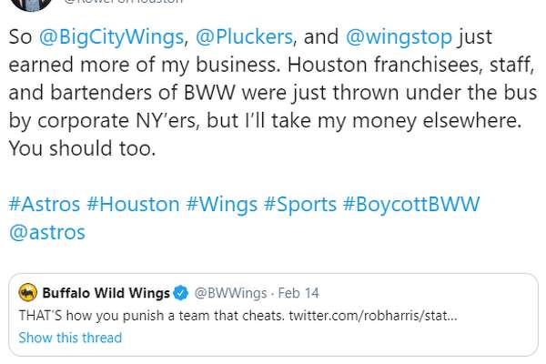 Houston Astros fans began the hashtag #BoycottBWW after the popular wing joint Buffalo Wild Wings seemingly alluded to the team's cheating scandal in a tweet supporting punishment for cheaters in sports.