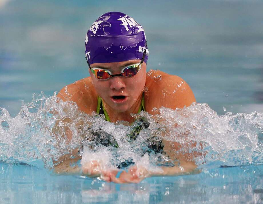 Bobbi Kennett of Fort Bend Ridge Point competes in the 6A girls 100-yard during the UIL State Swimming & Diving Championships at the Lee & Joe Jamail Texas Swimming Center, Saturday, Feb. 15, 2020, in Austin. Photo: Jason Fochtman, Houston Chronicle / Staff Photographer / Houston Chronicle © 2020
