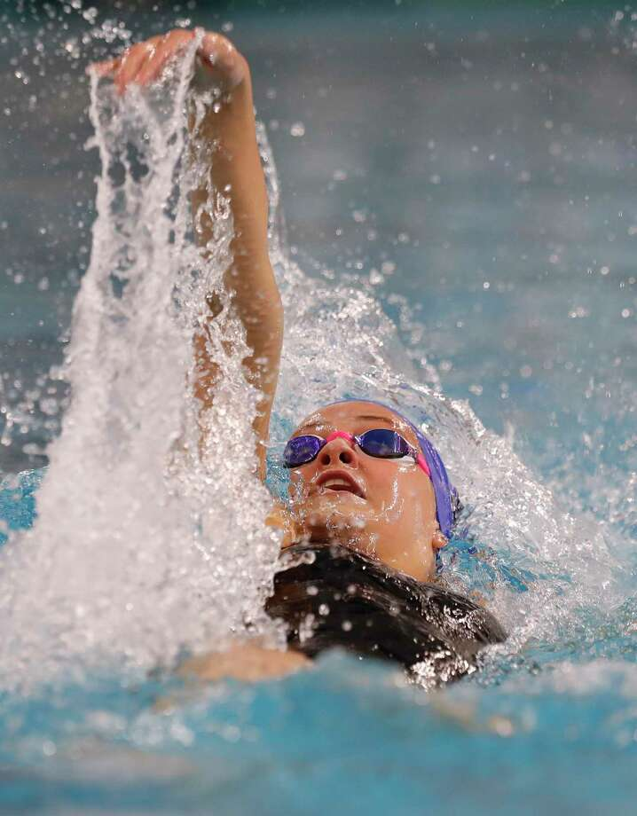 Emma Sticklen of Katy Taylor competes in the 6A girls 100-yard backstroke during the UIL State Swimming & Diving Championships at the Lee & Joe Jamail Texas Swimming Center, Saturday, Feb. 15, 2020, in Austin. Photo: Jason Fochtman, Houston Chronicle / Staff Photographer / Houston Chronicle © 2020