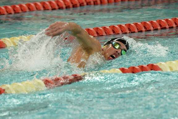 Tyler Kopp of Taylor High School participates in the boys 500 yard freestyle at the District 19-6A Swimming and Diving Championships on January 18, 2020 at the Katy HS Natatorium, Katy, TX.