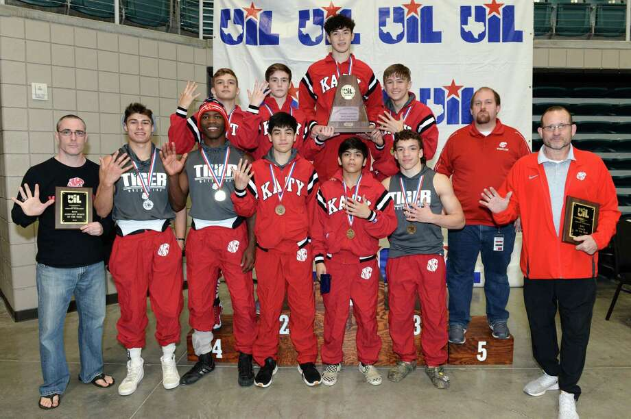 The Katy High School boys team poses after being named the Region III 6-A UIL Wrestling Champions on Saturday February 15, 2020 at the Leonard Merrell Center, Katy, TX. Photo: Craig Moseley, Houston Chronicle / Staff Photographer / ©2020 Houston Chronicle