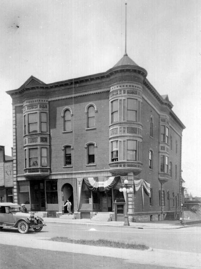 This 1920s view of the Fowler block at the corner of Maple and Water streets shows the building that was at that location at the time.