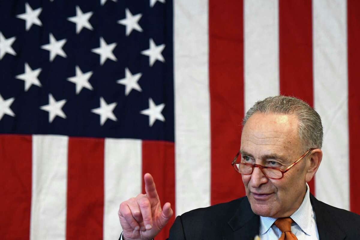 U.S. Sen. Charles Schumer speaks during a press conference where he urged the federal government to add conditions to the list of ailments caused by Agent Orange on Monday, Feb. 17, 2020, at the Joesph E. Zaloga American Legion Post in Colonie, N.Y. (Will Waldron/Times Union)