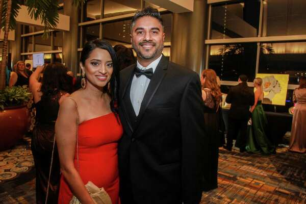 EMBARGOED FOR SOCIETY REPORTER UNTIL FEB. 20 Steven and Bindu Verghese at the Heart Association's annual Heart Ball at the Hilton Americas Houston on February 15, 2020.