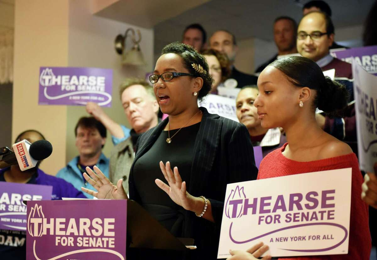 Former Democratic Schenectady mayoral candidate Thearse McCalmon announces her bid to challenge Sen. James Tedisco for the 49th Senate seat on Monday, Feb. 17, 2020, during a press conference in Schenectady, N.Y. (Will Waldron/Times Union)