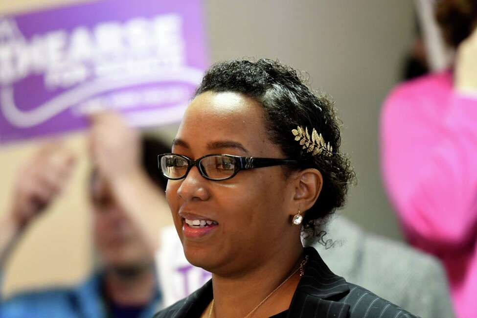 Thearse McCalmon announces her bid to challenge Sen. James Tedisco for the 49th Senate seat on Monday, Feb. 17, 2020, during a press conference in Schenectady, N.Y. In 2019 she came close to beating Mayor Gary McCarthy in Schenectady's Democratic primary in advance of November's mayoral race. (Will Waldron/Times Union)
