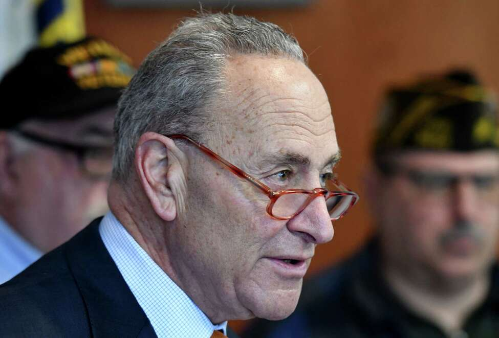 Sen. Charles Schumer speaks during a press conference where he urged the federal government to add conditions to the list of ailments caused by Agent Orange on Monday, Feb. 17, 2020, at the Joesph E. Zaloga American Legion Post in Colonie, N.Y. (Will Waldron/Times Union)