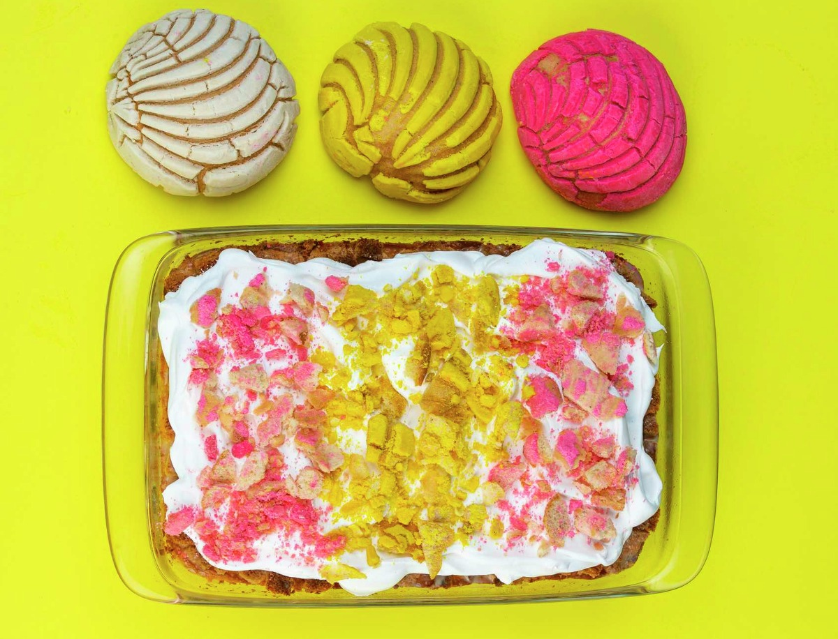 Concha Tres Leches Cake, a recipe using concha sweet breads from food writer and blogger Vianney Rodriguez of sweetlifebake.com.