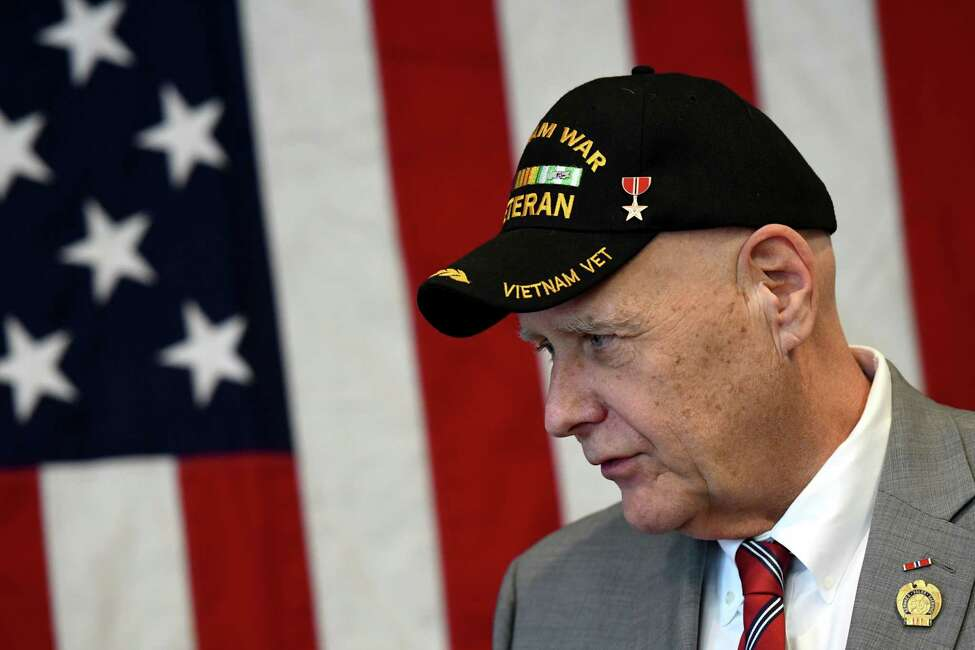 Vietnam War veteran Emil Backer joined U.S. Sen. Charles Schumer during a press conference where Sen. Schumer urged the federal government to add conditions to the list of ailments caused by Agent Orange on Monday, Feb. 17, 2020, at the Joesph E. Zaloga American Legion Post in Colonie, N.Y. (Will Waldron/Times Union)