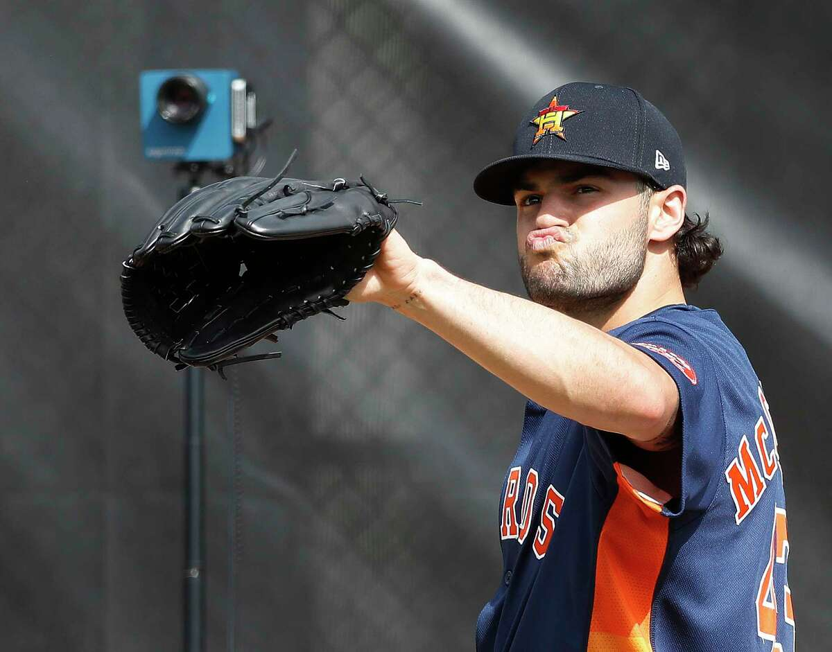 Houston Astros pitcher Lance McCullers Jr. (43) makes a face between pitches during the first full-squad Houston Astros spring training workout at the Fitteam Ballpark of The Palm Beaches, in West Palm Beach , Monday, Feb. 17, 2020.