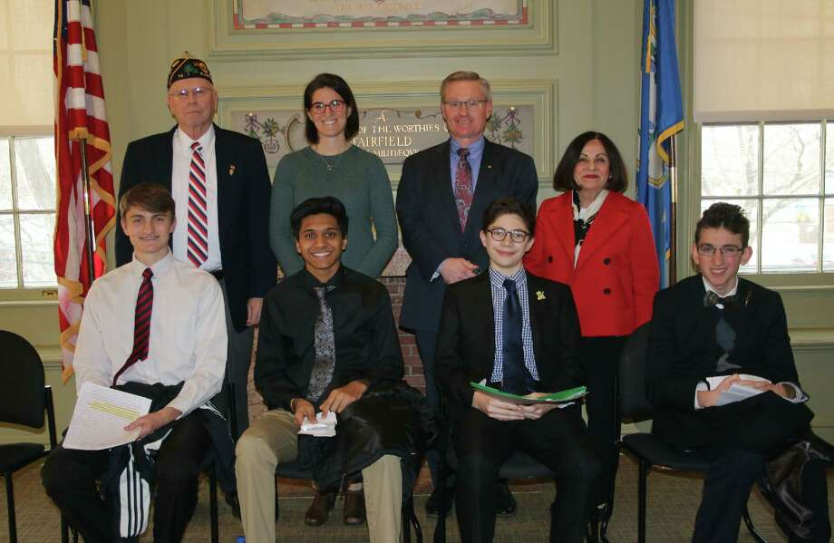 American legion High School Oratory 2020 finalists and judges are, in back from left, Leonard Schroeder, Cristin McCarthy Vahey, Richard Miller and Toni Boucher. In front are Ethan McGinnis, Archit Bhargave, Zachary Rybchin, and Aidan Harrison Hall. Photo: Contributed Photo / American Legion Post 86 / Wilton Bulletin Contributed