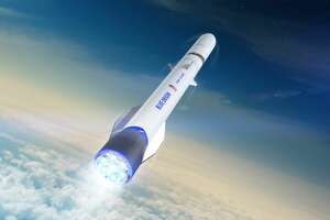 Pictured is a rendering of Blue Origin's New Glenn rocket. This rocket will use engines built at a new facility in Huntsville, Ala.