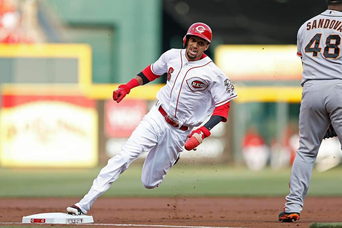 CINCINNATI, OH - JUNE 3: Billy Hamilton #6 of the Cincinnati Reds rounds third base on his way to scoring a run after a throwing error in the first inning of the game by Tim Lincecum (not pictured) of the San Francisco Giants at Great American Ball Park on June 3, 2014 in Cincinnati, Ohio. (Photo by Joe Robbins/Getty Images)