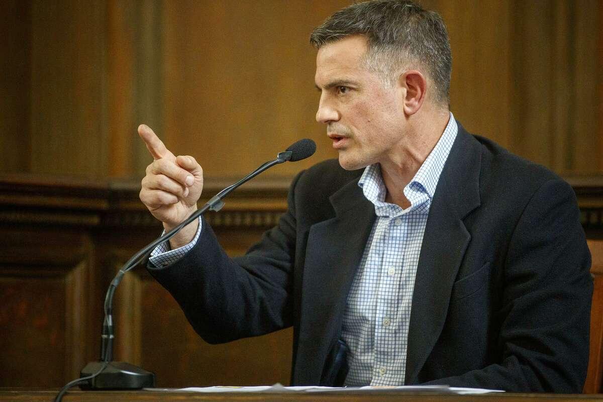 Fotis Dulos during testimony in a civil trial in Hartford.